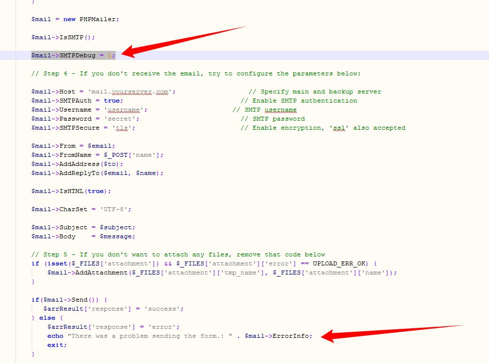 Topic: How to debug in PHPMailer (contact-us-advanced.php) - Okler ...