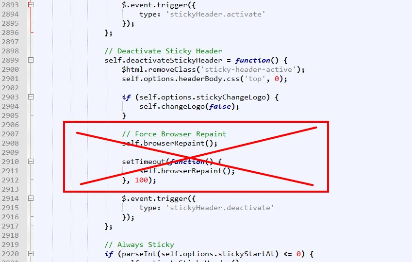 Topic: sticky header / page scrolling problem - Okler Themes